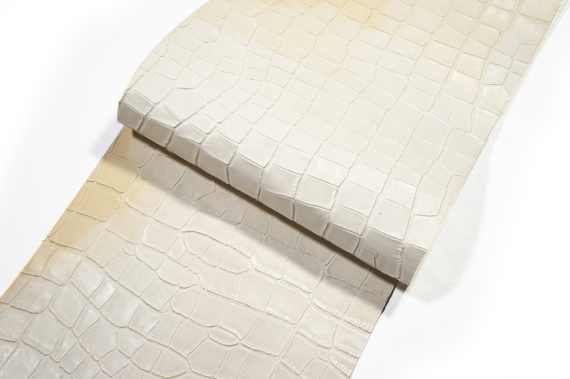 <OUTLET>激安!30 cm巾カット販売<牛色革型押し・ホワイト>