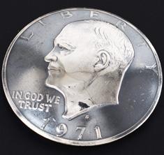 オールドアイゼンハワーコインコンチョいぶし銀<横顔>ネジ式