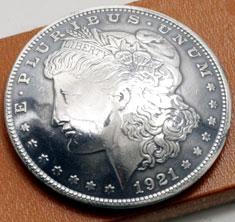 オールドモーガンコインコンチョ1921<時価>(いぶし銀タイプA)ボタンループ式