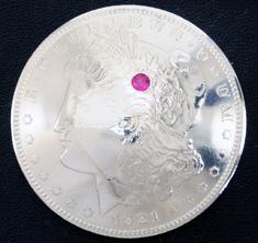 ルビー1個入りオールドモーガンコインコンチョ1921ボタンループ式
