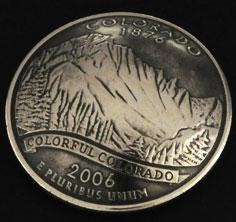 コロラド州クウォーターニッケルコインコンチョ(いぶし仕上げ) ボタンループ式