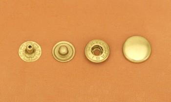 まとめ買い(B3)真鍮製バネホック<中>ソリッドブラス・バレルあり(360コ入り)