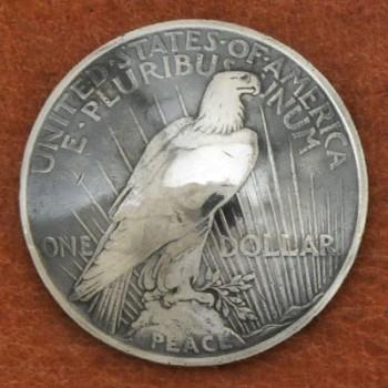 オールドシルバーピースコインコンチョ<イーグル>1922年~<時価>(いぶし銀)<VG>ネジ式