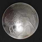 キーウィ・ニュージーランド20セント白銅貨 コンチョ