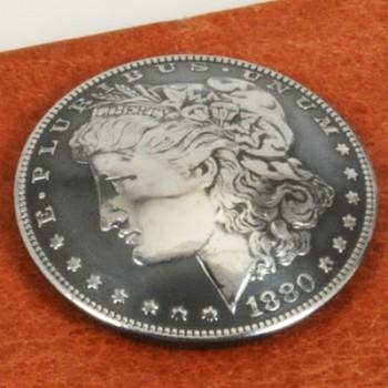 モーガンコインコンチョ1880-1889(いぶし銀)BUネジ式(1885年)