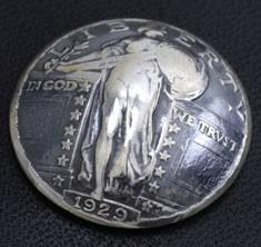 スタンディングリバティ コインコンチョいぶし銀 ネジ式