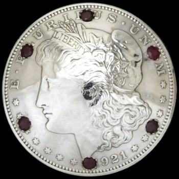 ルビー6個入りオールドモーガンコインコンチョ1921ボタンループ式