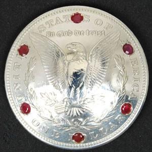 <イーグル>ルビー6個入りオールドモーガンコインコンチョ1921ネジ式