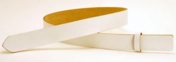 <OUTLET>(ボタン付き)ホワイトサーファスレザーベルト・50S 長さ110cm<巾5.0cm(4.9cm実寸巾)>(全体:約3.0mm/バックル側:9cm-2.3mm/ボタン付けニッケルボタン・シングルピン用)
