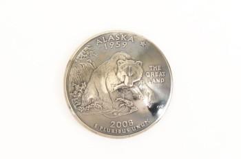 <オークション>アラスカ州クウォーターニッケルコインコンチョ(いぶし仕上げ) ネジ式
