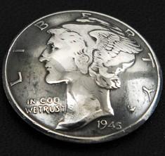 オールドマーキュリー1916~1945コインコンチョいぶし銀<横顔>ネジ式