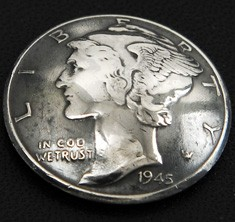 オールドマーキュリー1916~1945コインコンチョいぶし銀<横顔>ボタンループ式