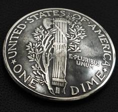 オールドマーキュリー1916~1945コインコンチョいぶし銀<ダイム>ネジ式