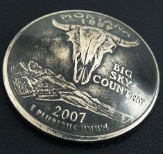 モンタナ州クウォーターニッケルコインコンチョ(いぶし仕上げ) ネジ式