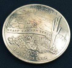 アリゾナ州クウォーターニッケルコインコンチョ ボタンループ式