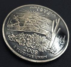 アリゾナ州クウォーターニッケルコインコンチョ(いぶし仕上げ) ボタンループ式