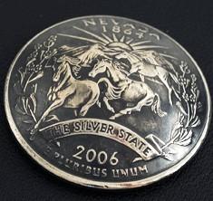 ネバダ州クウォーターニッケルコインコンチョ(いぶし仕上げ) ボタンループ式