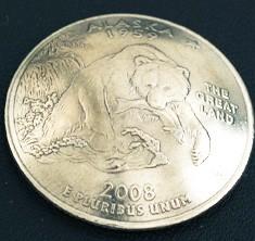 アラスカ州クウォーターニッケルコインコンチョ ボタンループ式
