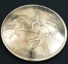 デラウェア州クウォーターニッケルコインコンチョ ボタンループ式