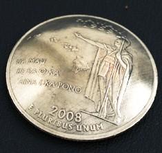 ハワイ州クウォーターニッケルコインコンチョ ネジ式