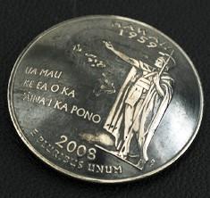 ハワイ州クウォーターニッケルコインコンチョ(いぶし仕上げ) ネジ式