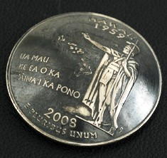 ハワイ州クウォーターニッケルコインコンチョ(いぶし仕上げ) ボタンループ式