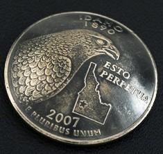 アイダホ州クウォーターニッケルコインコンチョ(いぶし仕上げ) ネジ式