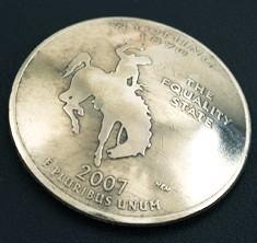 ワイオミング州クウォーターニッケルコインコンチョ ボタンループ式
