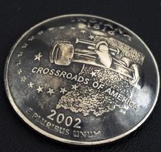 インディアナ州クウォーターニッケルコインコンチョ(いぶし仕上げ) ボタンループ式