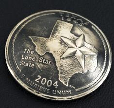 テキサス州クウォーターニッケルコインコンチョ(いぶし仕上げ) ネジ式
