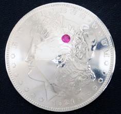 ルビー1個入りオールドモーガンコインコンチョ1921ネジ式