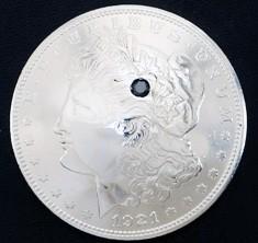 ブラックダイヤモンド1個入りオールドモーガンコインコンチョ1921ボタンループ式
