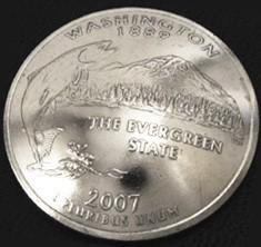 ワシントン州クウォーターニッケルコインコンチョ ボタンループ式