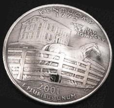 ケンタッキー州クウォーターニッケルコインコンチョ ボタンループ式