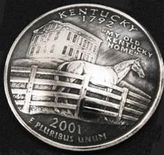 ケンタッキー州クウォーターニッケルコインコンチョ(いぶし仕上げ) ボタンループ式