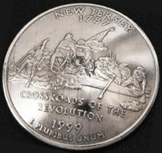 ニュージャージー州クウォーターニッケルコインコンチョ ボタンループ式