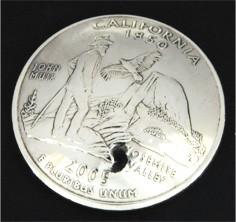カリフォルニア州クウォーターニッケルコインコンチョ ボタンループ式