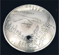 オレゴン州クウォーターニッケルコインコンチョ ボタンループ式