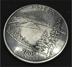 オレゴン州クウォーターニッケルコインコンチョ(いぶし仕上げ) ボタンループ式
