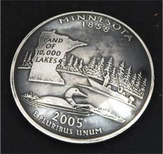 ミネソタ州クウォーターニッケルコインコンチョ(いぶし仕上げ) ボタンループ式