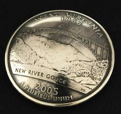 ウエストバージニア州クウォーターニッケルコインコンチョ(いぶし仕上げ) ボタンループ式