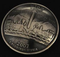 ユタ州クウォーターニッケルコインコンチョ(いぶし仕上げ) ボタンループ式